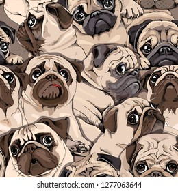 Seamless pattern. Portrait of many pugs. Composition in sepia Art style. Humor Textile composition, hand drawn style print. Vector illustration.