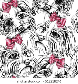 Seamless pattern with Portrait of the Puppy Maltese in a red striped bow on a white background. Vector illustration.