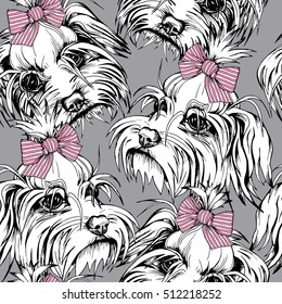 Seamless pattern with Portrait of the White Puppy Maltese in a pink striped bow on a gray background. Vector illustration.