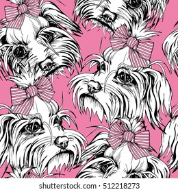 Seamless pattern with Portrait of the White Puppy Maltese in a striped bow on a pink background. Vector illustration.