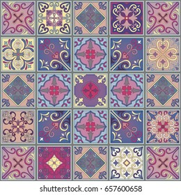 Seamless pattern with portuguese tiles in talavera style. Azulejo, moroccan, mexican ornaments