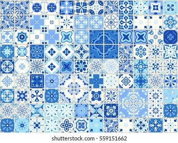 Seamless pattern with with Portuguese tiles. Vector illustration of Azulejo on white background. Mediterranean style. Blue design.