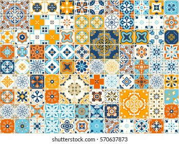 Seamless pattern with with Portuguese tiles. Vector illustration of Azulejo on white background. Mediterranean style. Multicolor design.