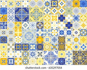 Seamless pattern with with Portuguese tiles. Vector illustration of Azulejo on white background. Mediterranean style. Blue and yellow design.