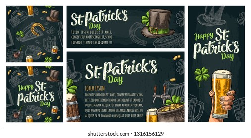Seamless pattern and poster for beer party. Top hat, pot gold coins, pipe, glass, lyre, horseshoe, clover, barrel. St. Patrick's Day lettering. Vintage color vector engraving illustration on dark