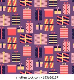 Seamless pattern with presents. Vector illustration