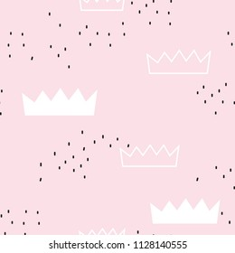 Seamless pattern with princess crowns. Childish texture for fabric, textile. Vector background.