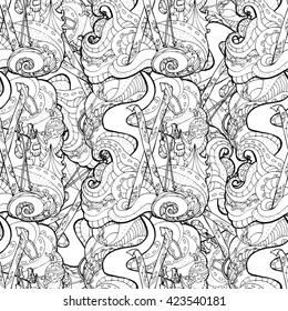 Seamless pattern for print textile design or paper wrapping.Merry Christmas style, ski equipment in the snow