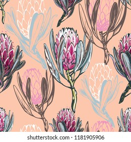 Seamless pattern with protea flower. Floral background with africans protea flowers for fabric design. Cute and beautiful watercolor vector illustration on pink orange backdrop.
