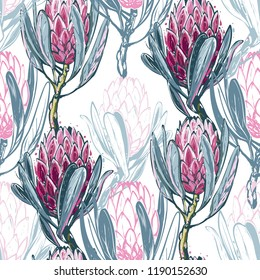 Seamless pattern with protea flower. Floral background with africans protea flowers for fabric design. Cute and beautiful watercolor vector illustration on white backdrop.
