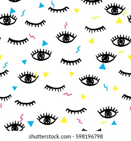 Seamless pattern in psychedelic style with doodle hand drawn closed and opened human eyes. Trendy seamless texture for covers, wrapping paper and textile design. Modern hipster style.