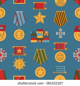 Seamless pattern of public commemorative medals. Background with awards for day of defenders of fatherland. Modern colorful flat style. Wallpaper of army rewards icons.