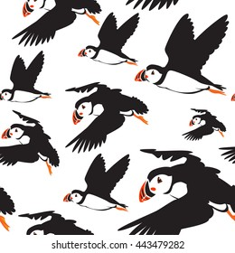 Seamless pattern of puffin birds in color use as background, wallpaper, card and wrap paper