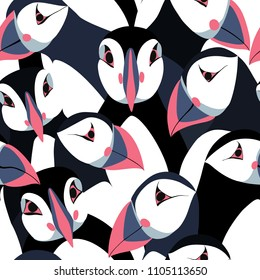 Seamless pattern with puffins