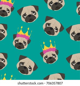 Seamless pattern with pug. Painted head of a cartoon pug for girls and boys, clothes, textiles, backgrounds, wrapping paper, crocheting on phone, web