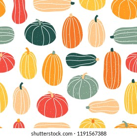 Seamless pattern with pumpkin in pastel colors. Vector illustration in flat design. Halloween background