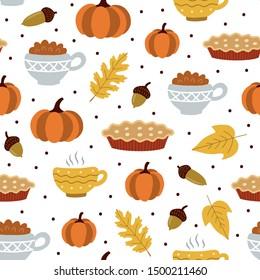 Seamless pattern pumpkin and pumpkin pie. Flat style. Vector illustration.