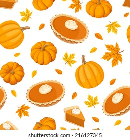 Seamless pattern with pumpkin pies and pumpkins. Vector illustration.