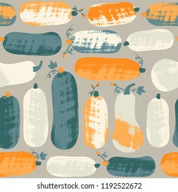 Seamless pattern with pumpkin and zucchini in pastel colors. Hand drawn colorful vector illustration. Craft stamp style. Halloween or harvest background.