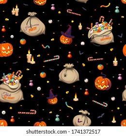 Nahtloses Muster - Kürbisse und bunte Halloweenbeutel für Kinder: Süßigkeiten, Schokolade, Gelee isoliert auf schwarzem Hintergrund.