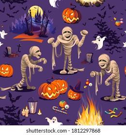 Nahtloses Muster - Kürbis, Mummies, Schloss und bunte Halloween-Süßigkeiten für Kinder auf violettem Hintergrund.
