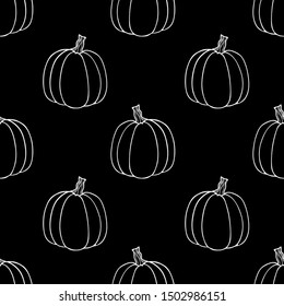 Seamless pattern of pumpkins.Outline drawing of a pumpkin.Flat style.For decoration and decoration of fabric,Wallpaper, packaging,tableware,paper,bed linen.Halloween design.Black and white graphics.