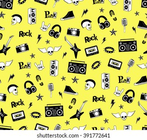 Seamless pattern. Punk rock, Hard rock music icons isolated on yellow. Doodle style set elements, patch, sticker. Design of Party poster, wrapping paper, textile, print, wallpaper. Vector illustration
