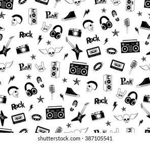 Seamless pattern. Punk rock music isolated on white background. Doodle design elements, emblems, badges, logo and icons.