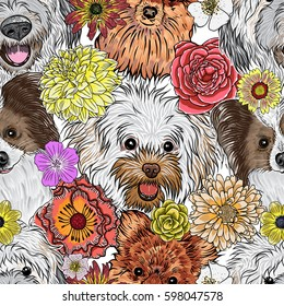 Seamless pattern purebred cute character portrait dogs. Hand drawn vector wallpaper surface texture with small puppy Pomeranian, Papillon, Bolognese, Labradoodle. Friendly doggy endless background.