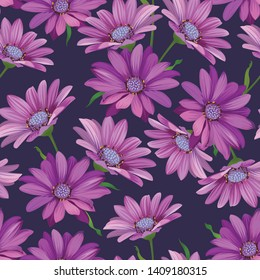 Seamless pattern of purple daisies flower background. Vector set of exotic tropical garden for holiday invitations, greeting card and fashion design.