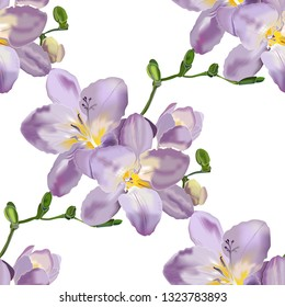 Seamless Pattern purple freesia flowers in vector. Design element for wedding invitations, cards. Vintage Floral Seamless Pattern of Blooming Freesia.