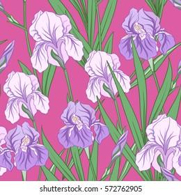 Seamless pattern with purple iris in Japanese style. Vector stock illustration.