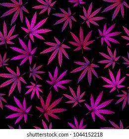 Seamless pattern with purple marijuana leaves on a black background