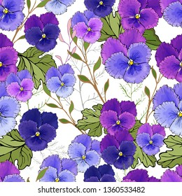 Seamless pattern with purple viola, green leaves.