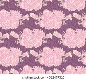 Seamless pattern purple violet floral.