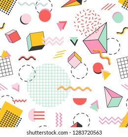 Seamless pattern with pyramids, cubes, circles, other geometric shapes and zigzag lines on white background. Vector illustration in 1990-s Memphis style for fabric print, wrapping paper, wallpaper.