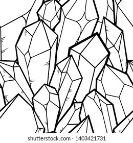 Seamless pattern of quartz crystal isolated on white background. Crystal cluster, minerals, dimonds. Hand drawn gems sketch style.