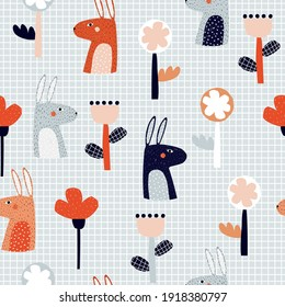 Seamless pattern with rabbit and big flowers. Kids funny print. Vector hand drawn illustration.