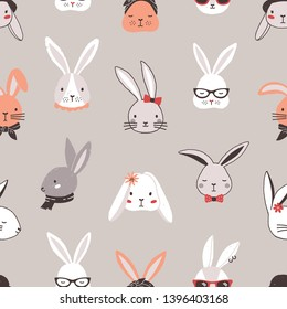Seamless pattern with rabbit faces on grey background. Backdrop with heads of funny bunnies or hares wearing glasses, sunglasses, hat, scarf, headscarf, bow tie. Flat cartoon vector illustration.