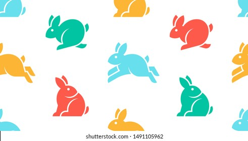 Seamless pattern with Rabbit logo. isolated on white background