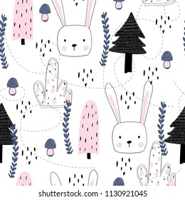 Seamless pattern with rabbit. Rabbit and magic forest, for printing on fabric, paper.