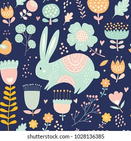 Seamless pattern with rabbit. Vector illustration with cute bunny and beautiful flowers. Easter greeting card.
