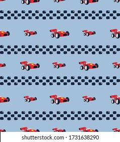 Seamless pattern, Race car with checkered flag on blue background illustration vector.
