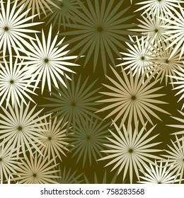 Seamless pattern of radiant multibeam stars pentagonal outlines. Fashionable camouflage.