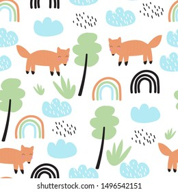 Seamless pattern with rain, rainbow, clouds and Fox. Vector illustration for printing on fabric, Wallpaper, dishes, postcard, picture, bed linen. Cute baby background.