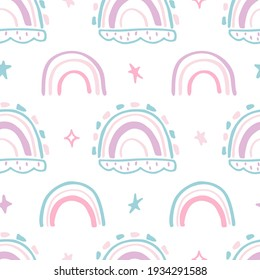 Seamless pattern with a rainbow. Cute doodle with rainbows. Seamless pattern for decoration of children's clothing, gift wrapping, postcards.