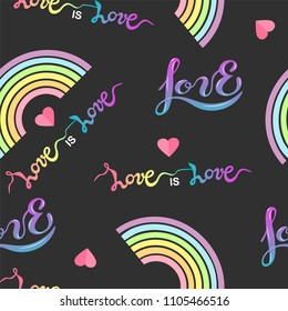 Seamless pattern with rainbow, wings, heart, hendwritten love. Gay pride collection. LGBT sign for textiles and fabrics, t-shirts, wallpapers. Love is Love-LGBT pride slogan.