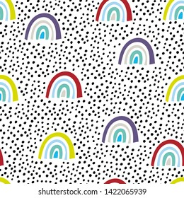 Seamless pattern with rainbows and drops. Summer design.