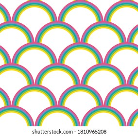 Seamless pattern of rainbows, sky colorful, graphic geometric abstract minimal retro vintage, sweet happy kids background illustration in vector