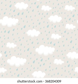 seamless pattern with rainclouds and raindrops